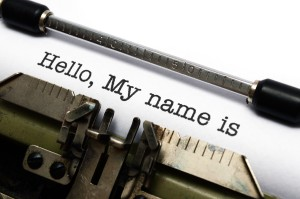"Typewriter showing ""Hello, My name is"" text"