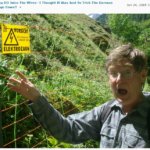 Fred Kolb makes a shocked face while pretending to touch an electrified fence.